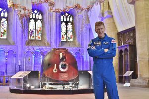 Tim Peake space capsule at Peterborough Cathedral EMN-181108-162606009