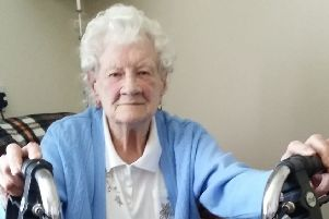 Peggy Norfolk (94), who is unhappy that Melton Borough Council has told her not to store her mobility scooter outside her flat because it is a fire risk EMN-190524-160904001