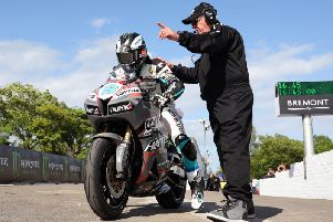 Michael Dunlop (MD Racing Honda) squeezes in a late lap during the opening Isle of Man TT qualifying session on Sunday. Picture: Stephen Davison/Pacemaker Press.