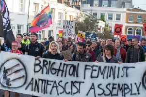 Protesters marched through Brighton to oppose Trump's state visit to the UK