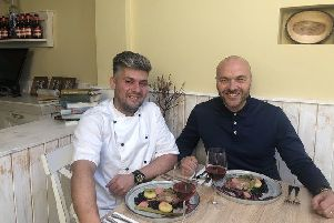 Damian Wawrzyniak with Simon Rimmer during filming of Tricks of the Restaurant Trade.