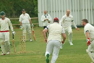 Tom Glover shows some derby passion after taking the key wicket of Myles Hickman in their first meeting last season EMN-191206-142321002