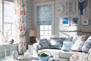 Undated Handout Photo of  Seascape fabricse available in three  colourways; Coral, Lagoon and Riviera. Curtains: Hove fabric in Riviera, from �30.50 per metre; Cushions (L-R) Hove fabric in Riviera, from �30.50 per metre; Herons fabric in Riviera, from �30.50 per metre; Plume fabric in Riviera, from �30.50 per metre;Seaside fabric in Riviera, from �30.50 per metre; Bedspread: Hove fabric in Riviera, from �30.50 per metre, from ILIV www.i-liv.co.uk. See PA Feature INTERIORS Coastal. Picture credit should read: ILIV/PA. WARNING: This picture must only be used to accompany PA Feature INTERIORS Coastal. WARNING: This picture must only be used with the full product information as stated above.