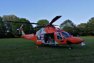 The Magpas air ambulance which is at the scene. Photo: John Abbott
