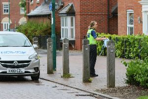 Police in West Lake Avenue. Photo: Terry Harris