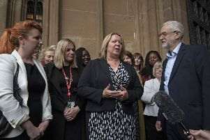 Labour Leader Jeremy Corbyn (right), the Shadow Cabinet and Labour MPs welcome newly-elected Labour Member of Parliament Lisa Forbes (centre) to Parliament in Westminster, London, following her victory in the Peterborough by-election. PRESS ASSOCIATION Photo. Picture date: Monday June 10, 2019. Photo credit should read: Victoria Jones/PA Wire POLITICS_Labour_15081274.JPG