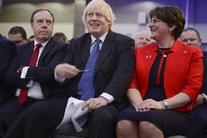 Boris Johnson attacked the backstop at the DUP conference, above, yet he later voted for it. He also previously said 'we're allowing the [Northern Irish] tail to wag the dog' in what was an apparent attack on the backstop but could be read as a chilling warning about what to expect if there's a direct choice between delivering Brexit and protecting Ulster's links to the rest of the UK