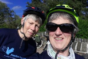 Shelagh King and Moira Dunsworth who are taking on the mammoth 865mile Cycle against Torture SUS-190625-150426001