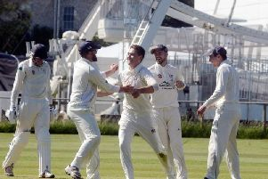 Bognor celebrate a wicket against Chi Priory Park at Goodwood / Picture by Kate Shemilt