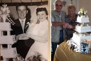 Anthony and Eileen pictured in 1959 and 2019 after 60 years of happy matrimony.