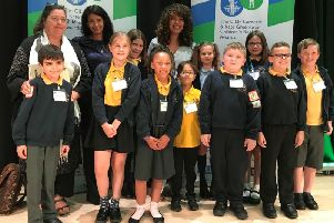 Hanwell Fields Community School pupils and staff with judges at the 2019 CILIP Carnegie and Kate Greenaway Childrens Book Awards. Photo: United Learning