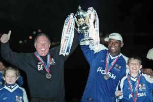 Manager Barry Fry (left) and Andy Clarke celebrate Posh winning promotion at Wembley in May, 2000.