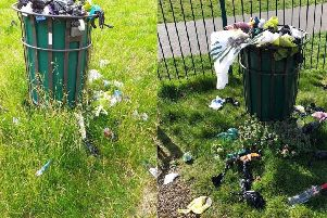 Left: The most recent example of an overflowing bin at the park. Right: A past example