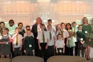 The party from Ravensthorpe Primary School with Lisa Forbes MP.