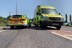 Police and the ambulance service at the collision at Fen Road. Photo: Cambridgeshire police