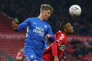 Mark O'Hara (left) in action for Posh.