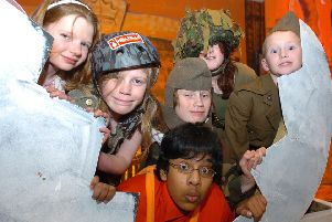 The 2006 cast of  Humpty Dumpty at Great Gidding village hall with  Himesh Patel as Humpty