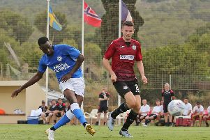 Mo Eisa scores for Posh against St Mirren. Photo: Joe Dent/theposh.com.