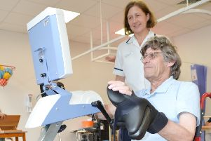 Patient Malcolm Trowell on the new exercise bike