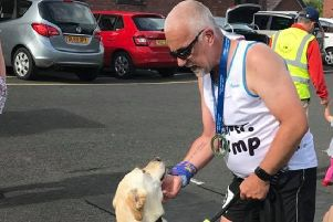 Tony Barclay and guide dog Wallace.