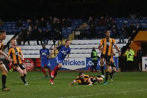 Action from Posh at Cambridge United in the EFL Trophy in 2017.