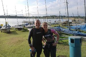 Gade Valley Harriers' members Dylan Wendleken and Sian Shaw before the Pitsford Triathlon on Sunday.