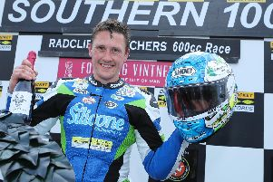 Dean Harrison made it a double at the Southern 100 on Wednesday evening with victory in the opening Supersport race. Picture: Dave Kneen/Pacemaker Press.