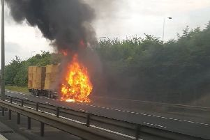 The truck fire on the A14. Photo: Carl Emmins