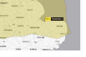 The warning is in place this afternoon