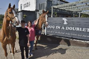 Della McGinn of the Dog in a Doublet  Rider Brandon Furneaux and horses Urono and Flamingo EMN-190107-144503009
