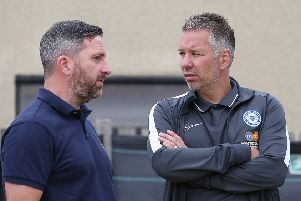 Kettering boss Nicky Eaden (left) with Darren Ferguson. Photo: Joe Dent