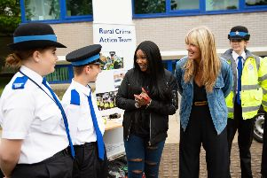 Penny Lancaster and Sandi Bogle visit Cambs Police HQ for their Recruitment Day,'Police HQ, Huntingdon'Saturday 13 July 2019. 'Picture by Terry Harris. THA