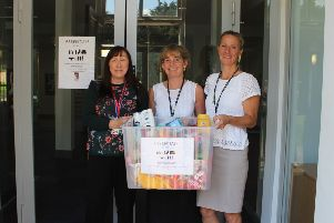 Essentials by Sue is launched at Cromwell Community College in Chatteris. Pictured, from left are Rosie Cooke, Fenland District Council's community safety projects officer; Joanne Roberts, child protection officer at Cromwell Community College, and Jane Horn, executive principal