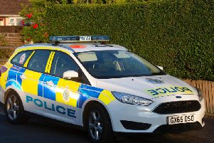 A police car at the scene