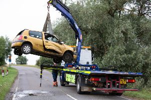 The car which crashed on the B1040. Photo: Terry Harris