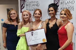 Hannah Smith, Bobby Anthony, Rachel Smith, Sarah McCombe and Sophie Marshall from One2Be pictured with their award.