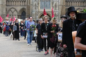 Extinction Rebellion funeral march in the city centre. EMN-190720-173601009