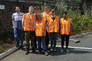 Volunteers who worked on the grounds at Kenilworth Station