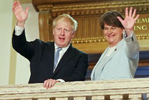 Boris Johnson and Arlene Foster in Stormont last month