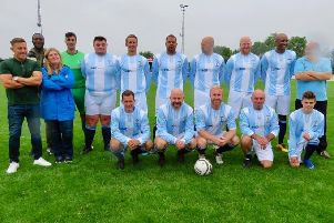 The Coventry City Legnds side line up ahead of kick-off. Pictures submitted