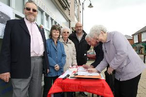 Caroline Cross (second left) campaigning for the Rushden Lakes development in 2012.