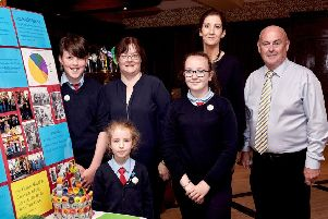 Pictured at the launch of the Catchment CARE projec in An Grianan Hotel Burt in 2018 from St. Baithins N.S, St.Johnston are Odhran Feeny, Ms. Mary Brown, Charlin McElroy, Victoria McHugh Toland, Ms. Avril Gallagher.