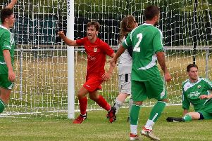Munton celebrates his first goal for Melton as he slots the hosts' opening goal of the season EMN-190508-103736002