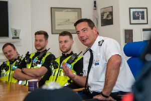 Ch Cons Adderley with some of his officers. Photo: Northamptonshire Police