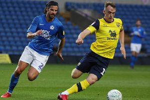 George Boyd in action for Posh at Oxford.