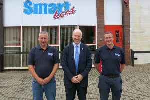 From left,  Kevin Hobbs (Smartheat Plumbing and Heating Limited) , Neil Collcott (Barclays) and Simon Foreman (Smartheat Plumbing and Heating Limited) .