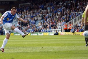 Paul Taylor fires home the equalising goal. Photo: Joe Dent/theposh.com