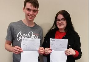 Pupils celebrate with their results.