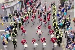 Clyde Valley Flute Band on parade in Londonderry.