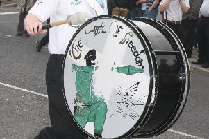 The Spirit of Freedom republican flute band bass drum